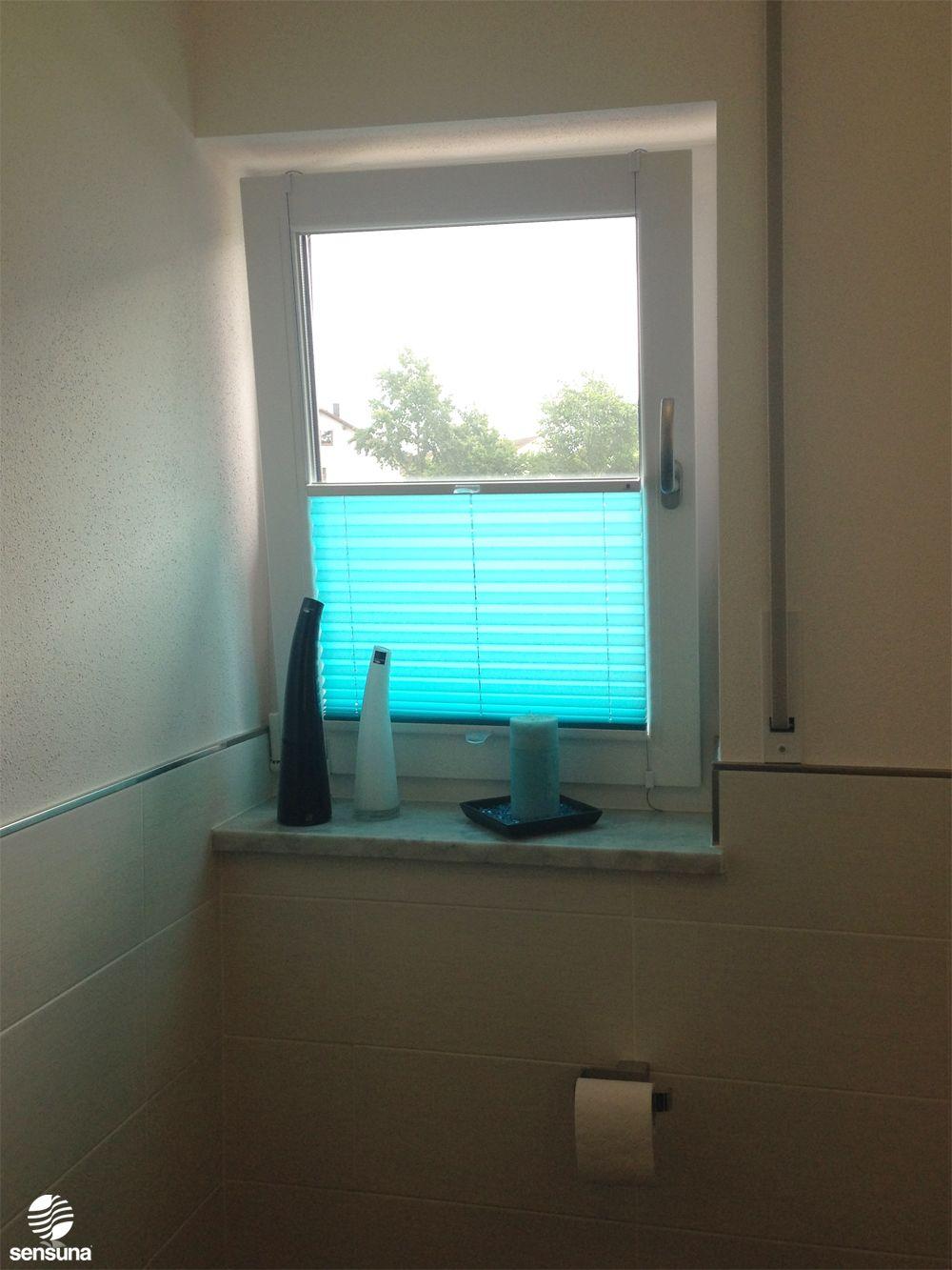 sensuna® Badezimmer Plissee in türkis - ein Kundenfoto / sensuna ...