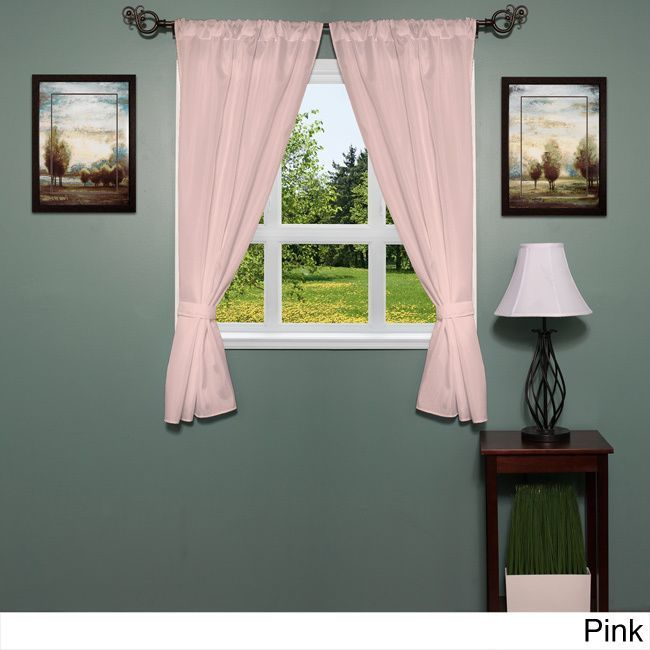 Classic Hotel Quality Water Resistant Fabric Curtain Set with Tiebacks (pink), Size 36 x 54