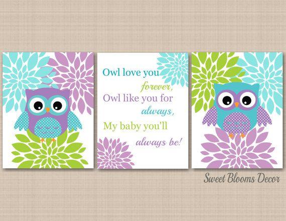 Owl Decor Teal Purple Nursery Wall Art Lavender