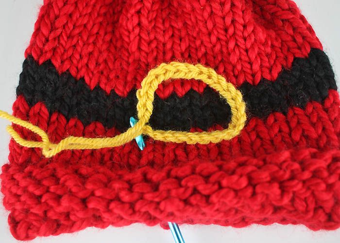 Santas Belt Buckle Hat Baby Free Knitting Pattern Knitting