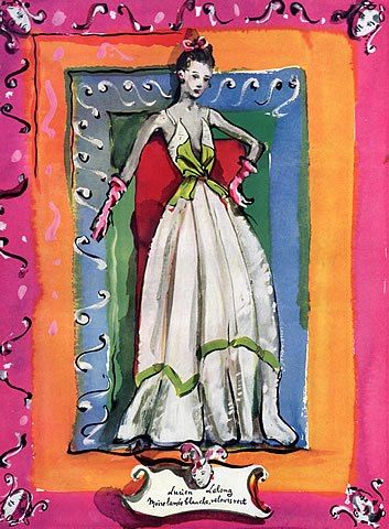 Lucien Lelong 1938 Christian Berard, Evening Gown