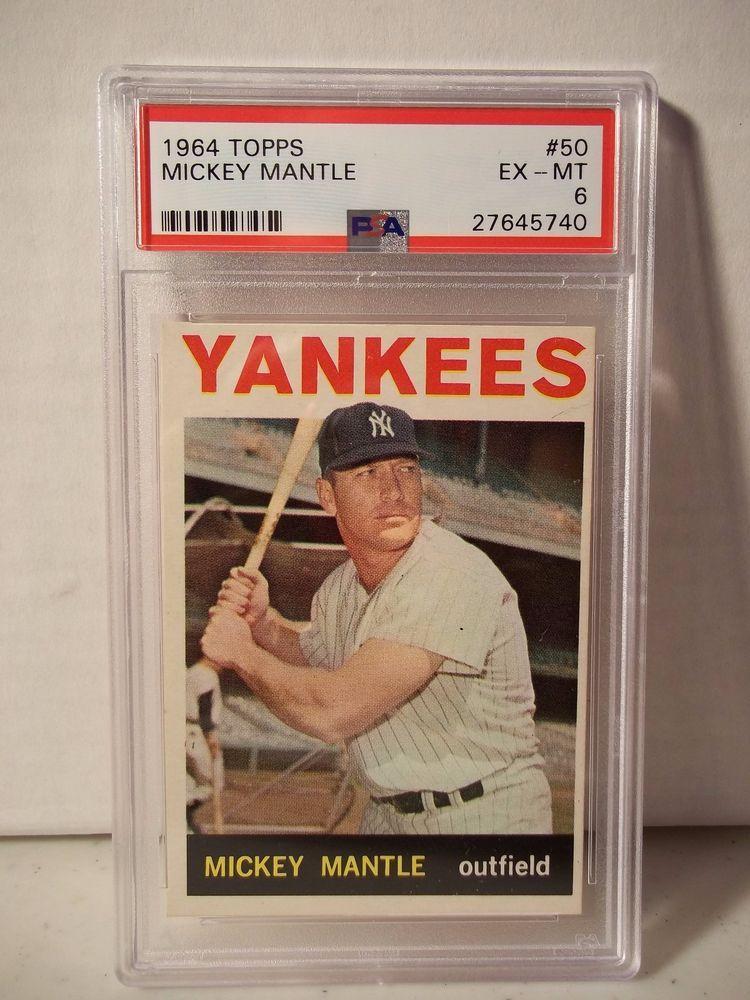 1964 topps mickey mantle psa exmt 6 baseball card 50 mlb