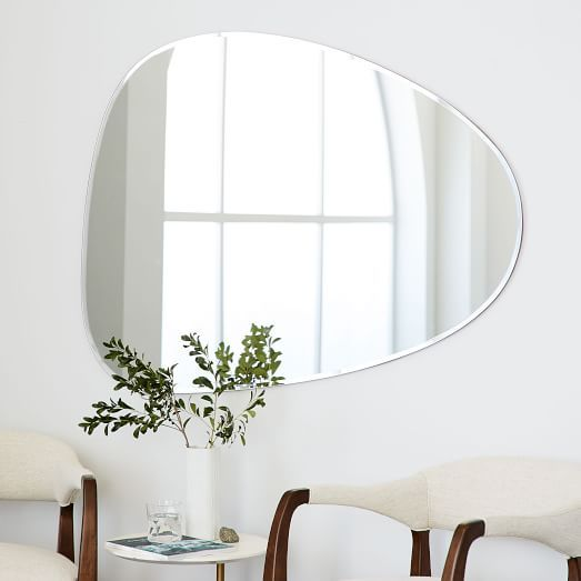 Frameless Asymmetrical Wall Mirror In 2020 Mirror Wall Living Room Mirror Wall Decor Wall Mirror Decor Living Room