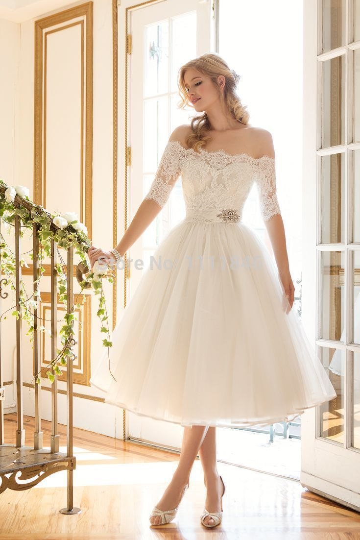 Y Off The Shoulder Boat Neck Ivory Tea Length Short Wedding Dresses With Half Sleeves Lace Vestido De Noiva Curto Bridal Gown