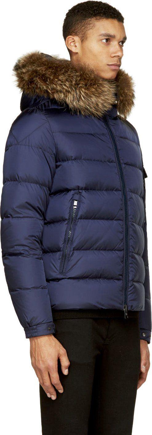 Moncler Navy Blue Genuine Fur Collar Byron Jacket
