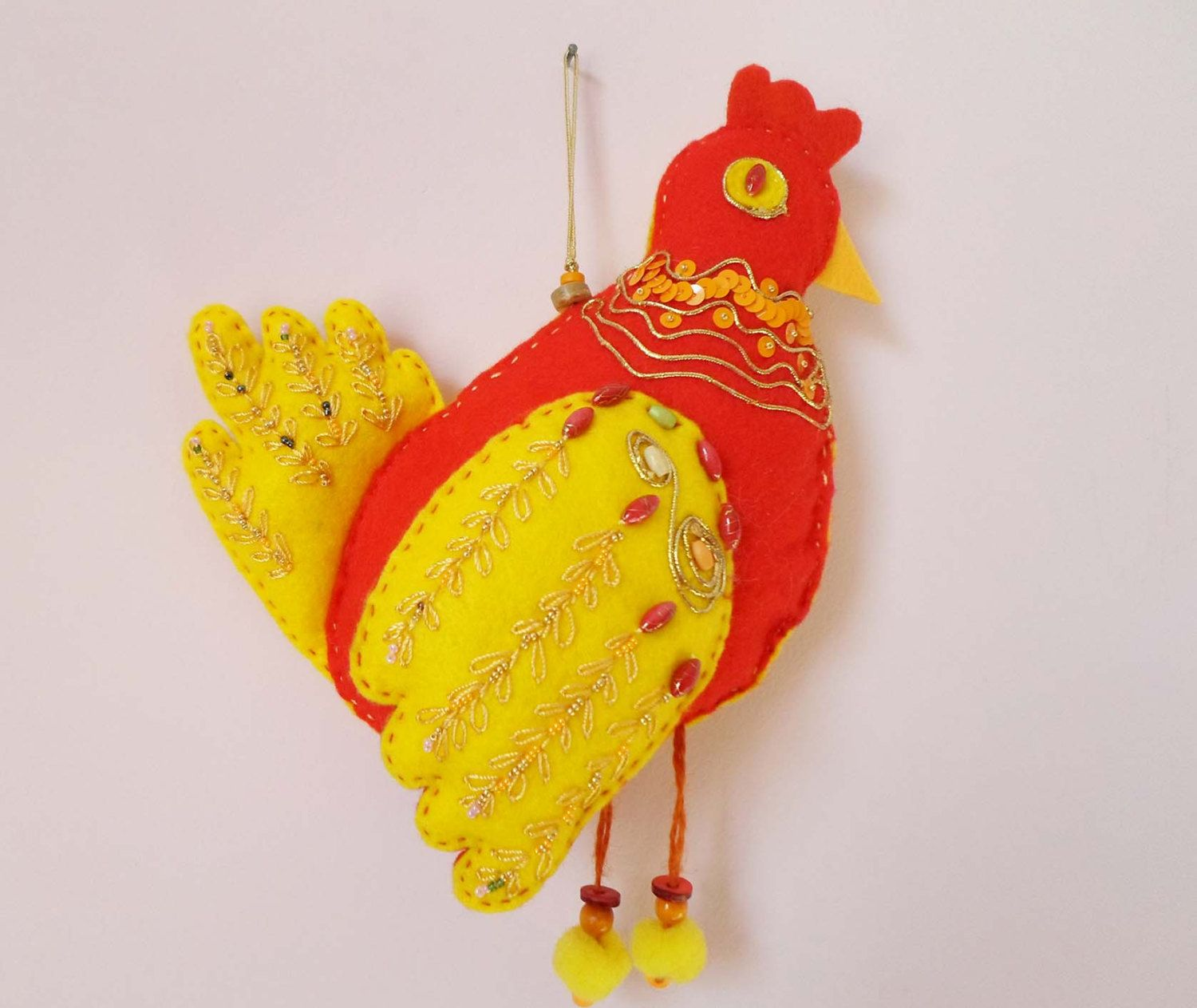 Felt Chicken Hen Bird Wall Hanging Decor, Easter Felt Wall Decor ...