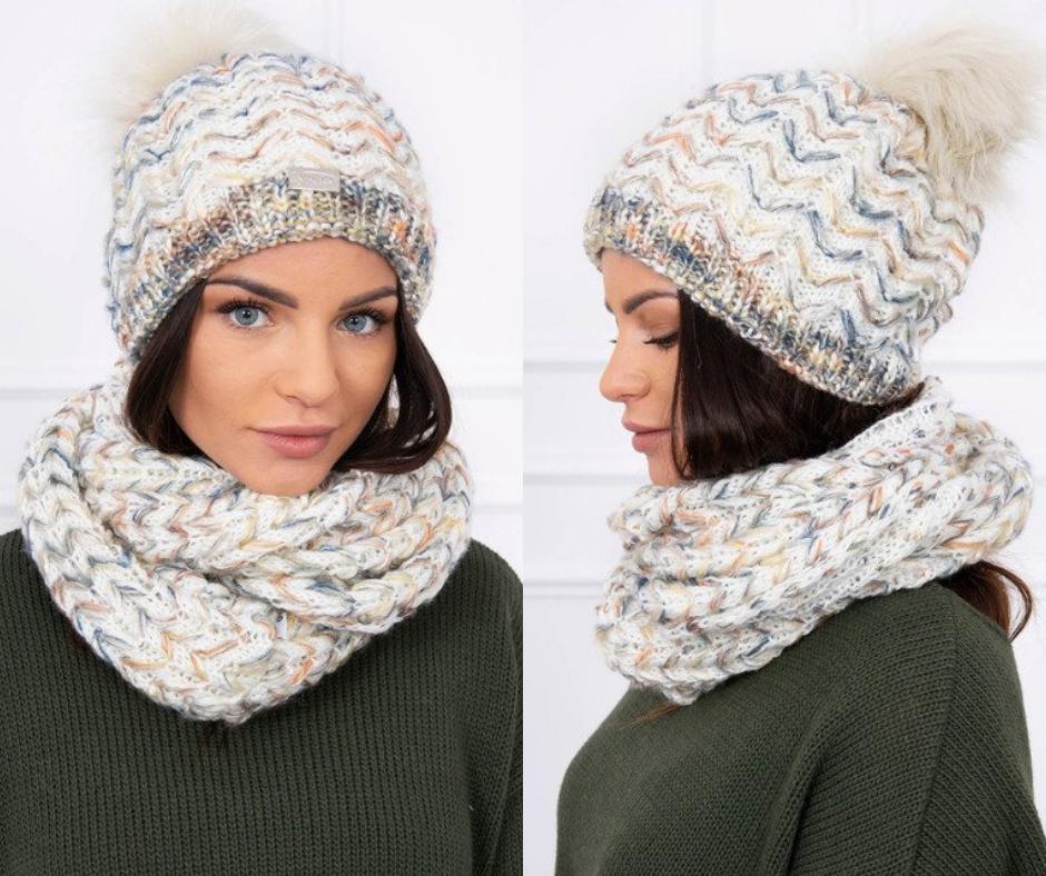 77cb8a9c8 Dámska čiapka so šálom, ktrásny kúsok s prekrásnymi pletenými vzormi.