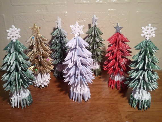 3d Origami small Christmas tree with snow | Etsy | Christmas