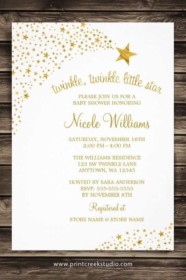twinkle little shooting star faux gold baby shower card | shower, Baby shower invitations