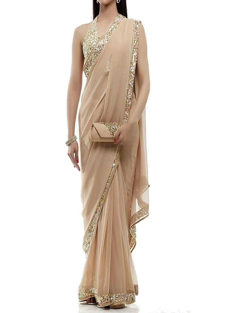 f3c1688ca76e1 Buy Light Chiku Georgette sequin embroidered border Party wear saree with  unstitch blouse Online