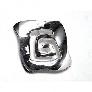 Colgante de plata de primera ley liso con una espiral cuadrada calada