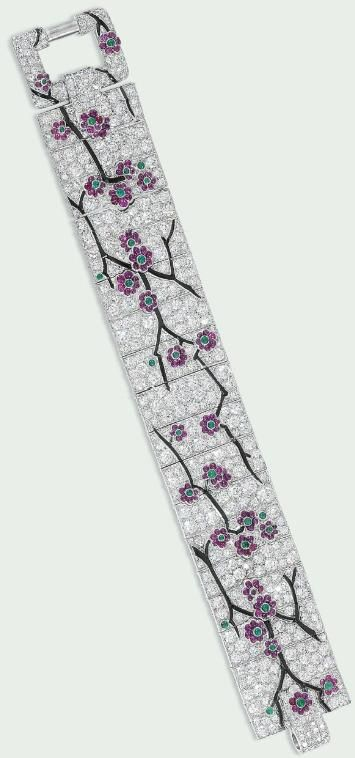 N EXCEPTIONAL ART DECO DIAMOND AND GEM BRACELET, BY CARTIER. Circa 1925. Christie's.