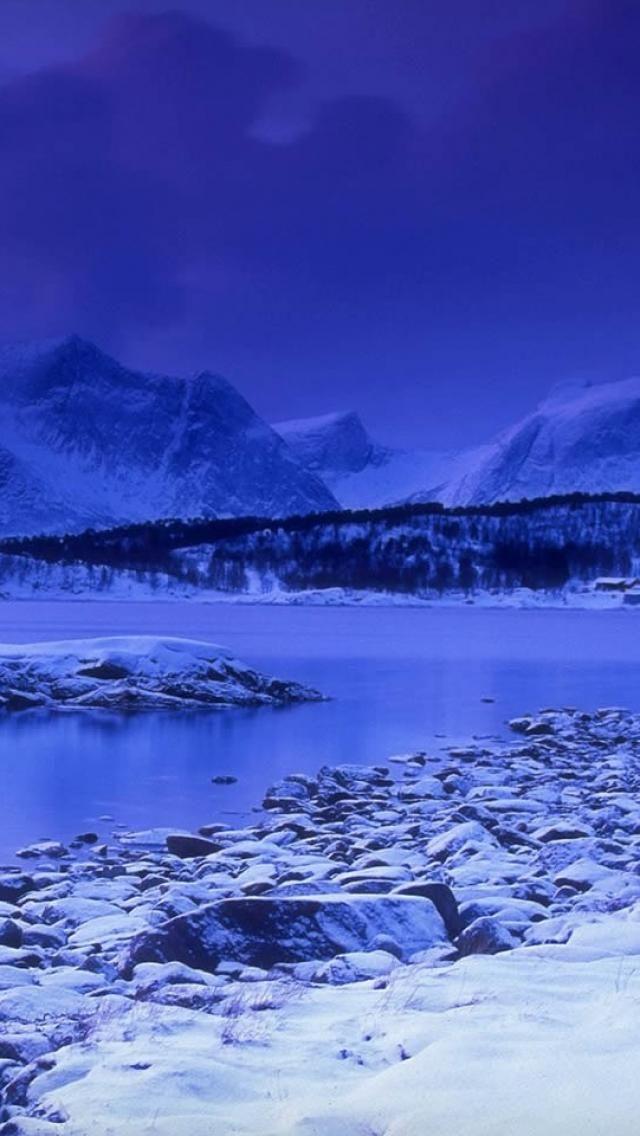 ✯ skarstad, norway, mountain, winter, lake, snow, Nature