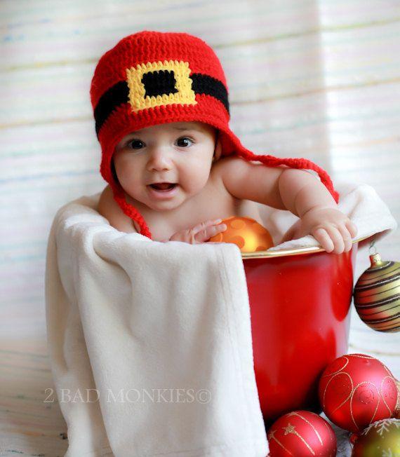 28174662d96cb Baby Santa Hat Newborn Christmas Photo Prop Baby by 2badmonkies ...