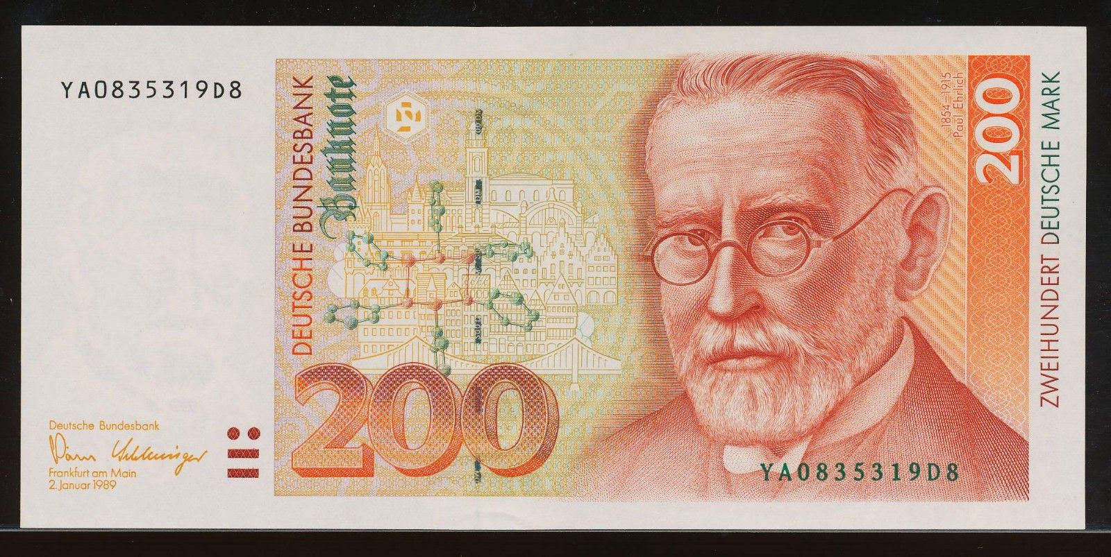 German banknotes 200 DM Deutsche Mark banknote, issued by