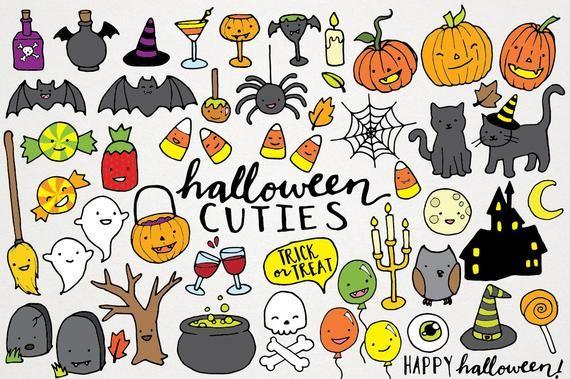 Cute Halloween Clipart Hand Drawn Halloween Clip Art Etsy Bullet Journal Halloween Halloween Illustration Cute Halloween Drawings