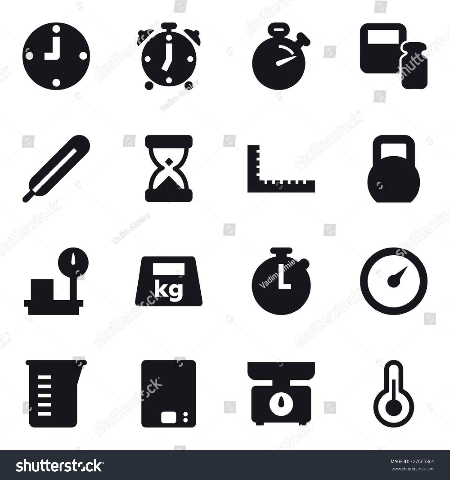 16 vector icon set clock, alarm clock, stopwatch, scales