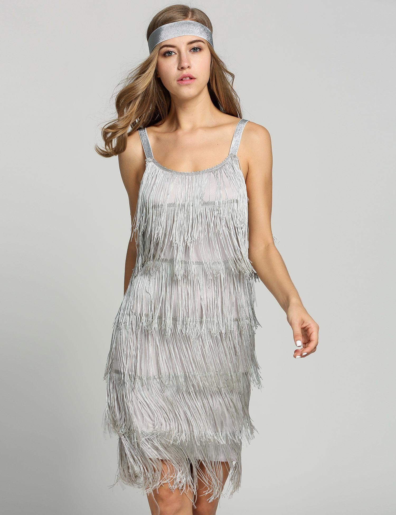 Glam Gatsby Fringe Flapper Trajes Vestidos de Fiesta dresslink.com ...