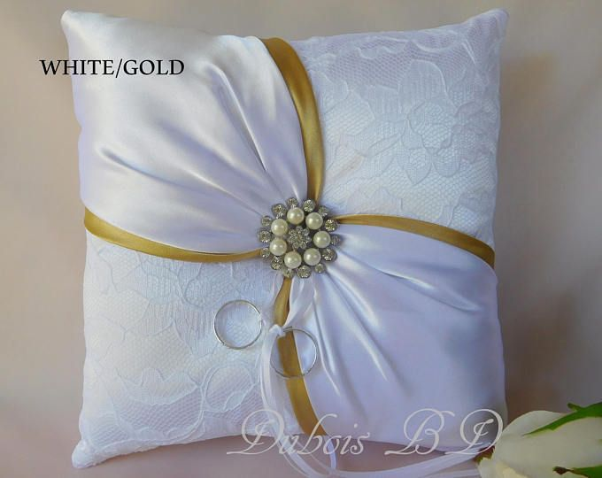 Wedding ring bearer pillow, Ivory with a red sash ring pillow, Red ...