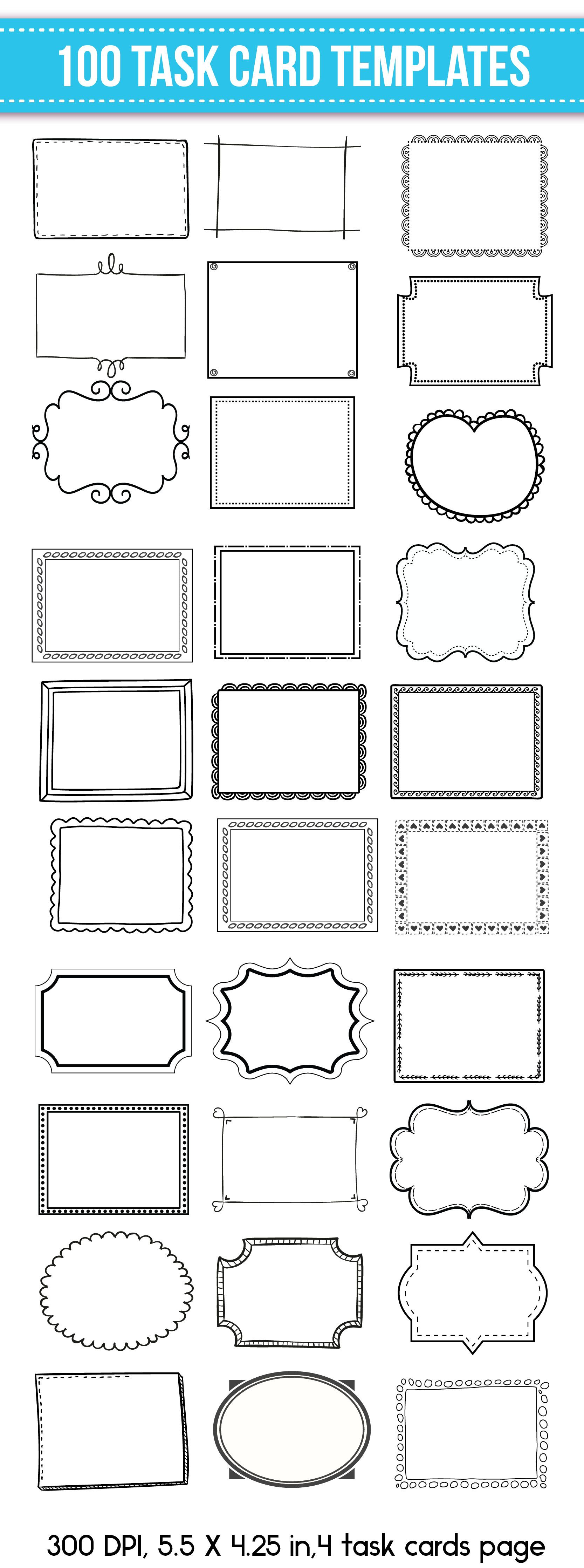 Task Card Templates Editable 100 Task Cards Flash Card Template Card Templates