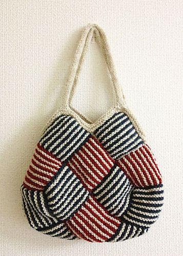 Garter Stripe Square Bag Pattern By Ishi Knit Bolso Monedero