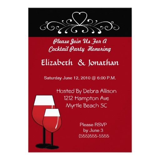 Couples Red Wine Cocktail  Party  Invitation