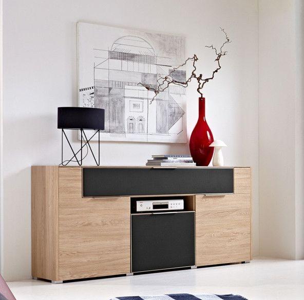 Sideboard Eiche  Alurahmen Mit Akustikstoff Grau Woody 22-00835 - wohnzimmer eiche grau