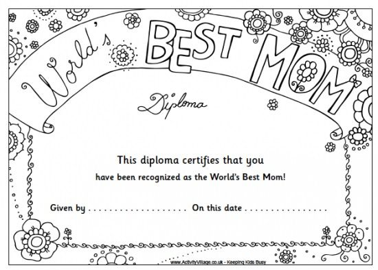 Mothers Day Certificates Coloring Pages