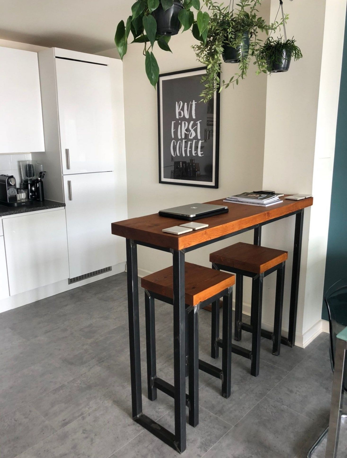 Breakfast Bar Kitchen Island Industrial Mill Style Reclaimed Wood Breakfast Bar Two Stools Industr Dining Room Small Small Kitchen Tables Bar Dining Table