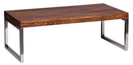 WOHNLING Couchtisch Massiv Holz Sheesham 120 Cm Breit Wohnzimmer Tisch Design Dunkel Braun