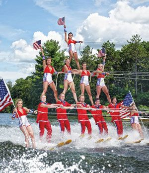 Tommy Bartlett Show's water-ski team, Wisconsin Dells, adult ticket $21, summer time entertainment
