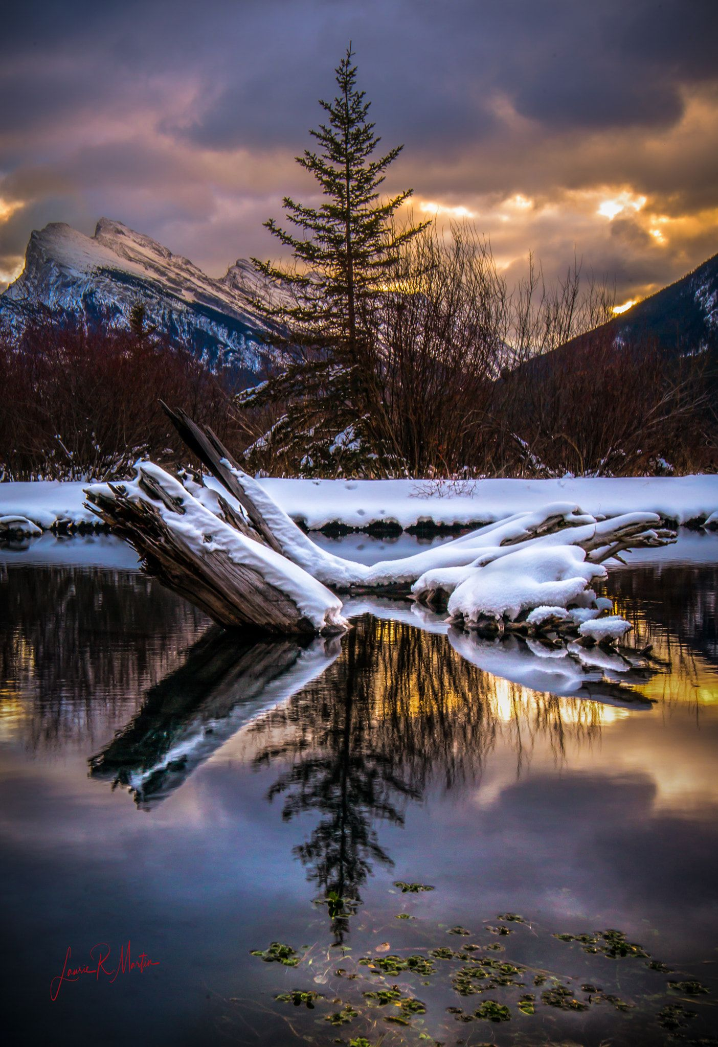 Canadian Winter Reflections Sunset Photography Nature Mountain Landscape Photography Nature Photography