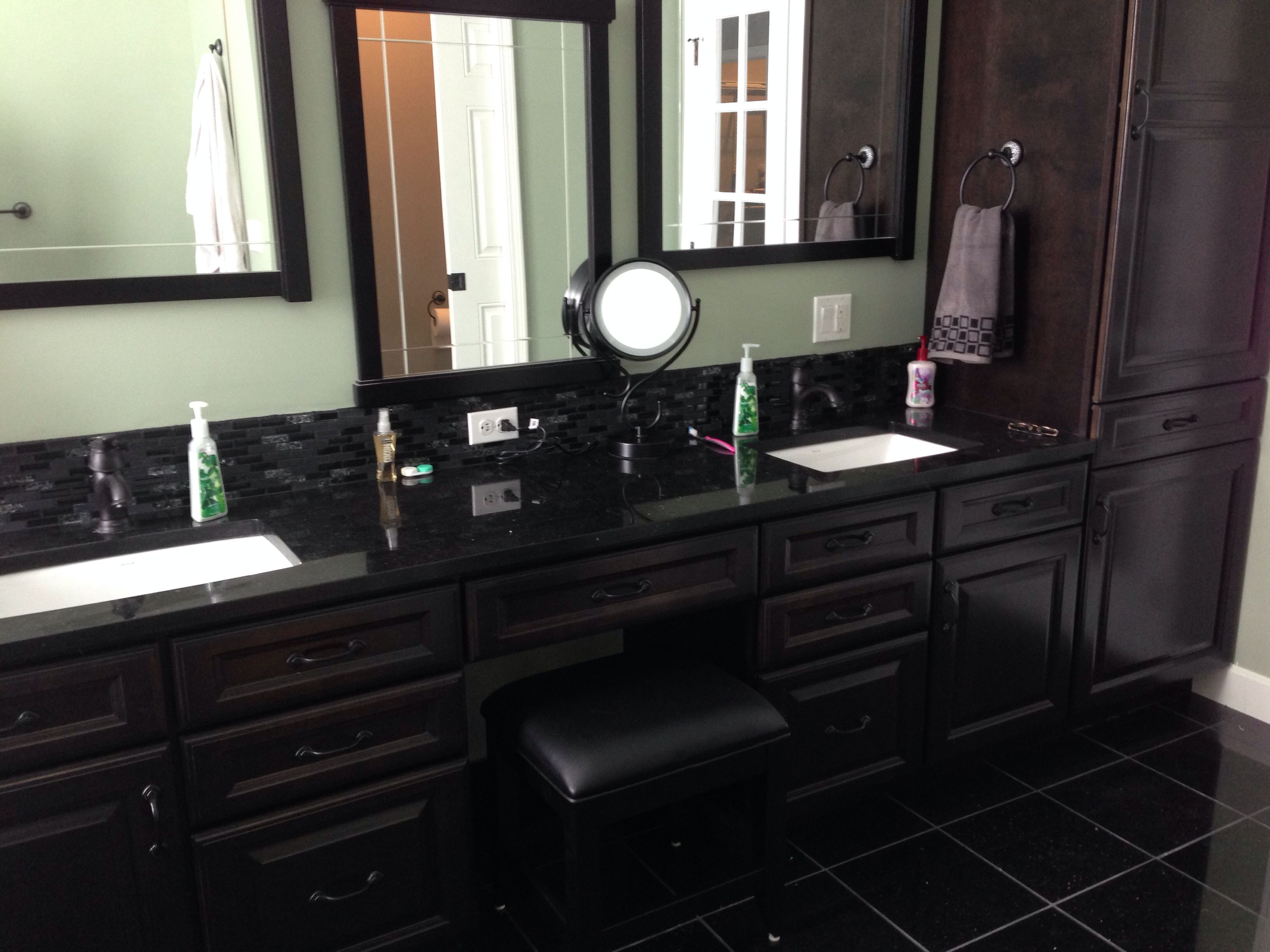 Master Bath. Black Galaxy Granite Counter And Floor Tiles