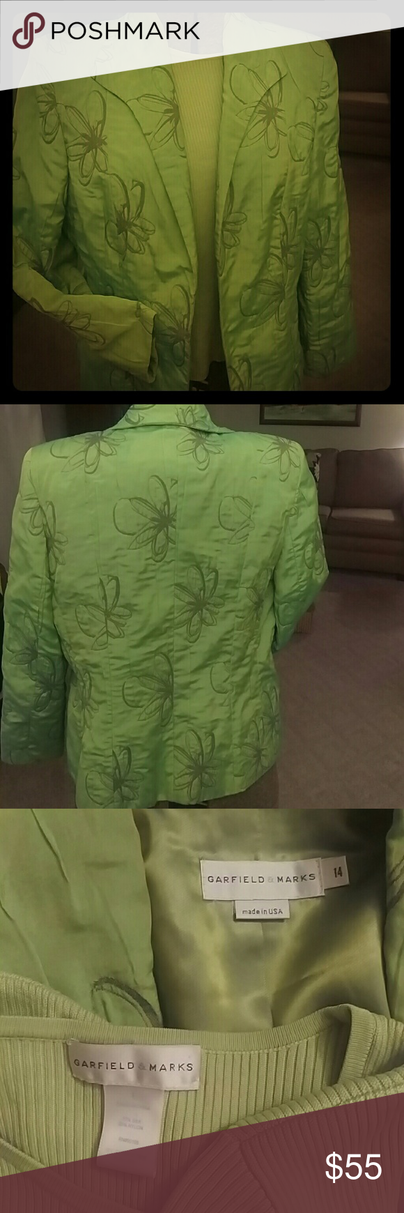Beautiful jacket and matching shell in apple green Richly quilted and embroidered jacket is fully lined. Worn a few times. No rips tears or stains. Size 14, 40% polyester 26% cotton and 26% polyamide, jacket has a light I trade sent sheen. Matching t-shirt shell is size large 75% silk 25% nylon. Both from Garfield and marks. Both are generously sized. Garfield & Marks Jackets & Coats Blazers