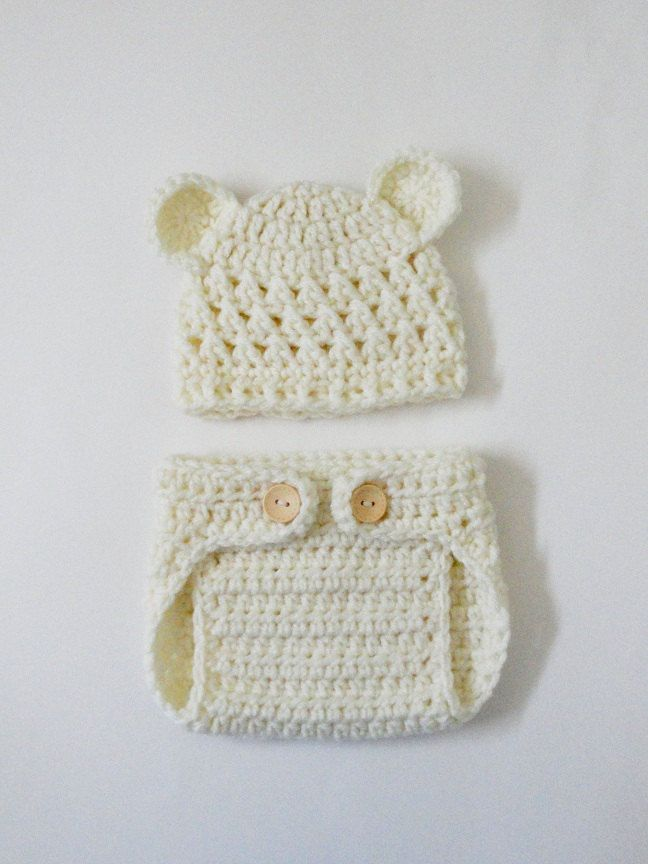 Crocheted Newborn Teddy Bear Baby Hat and Diaper Cover in Soft Cream-  Photo Prop. $24.99, via Etsy.