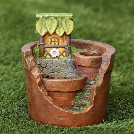 Winsome House Treehouse Planter Miniature Fairy Garden Statue