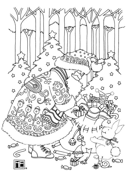 Santa Free Coloring Book Page From Mary Engelbreit