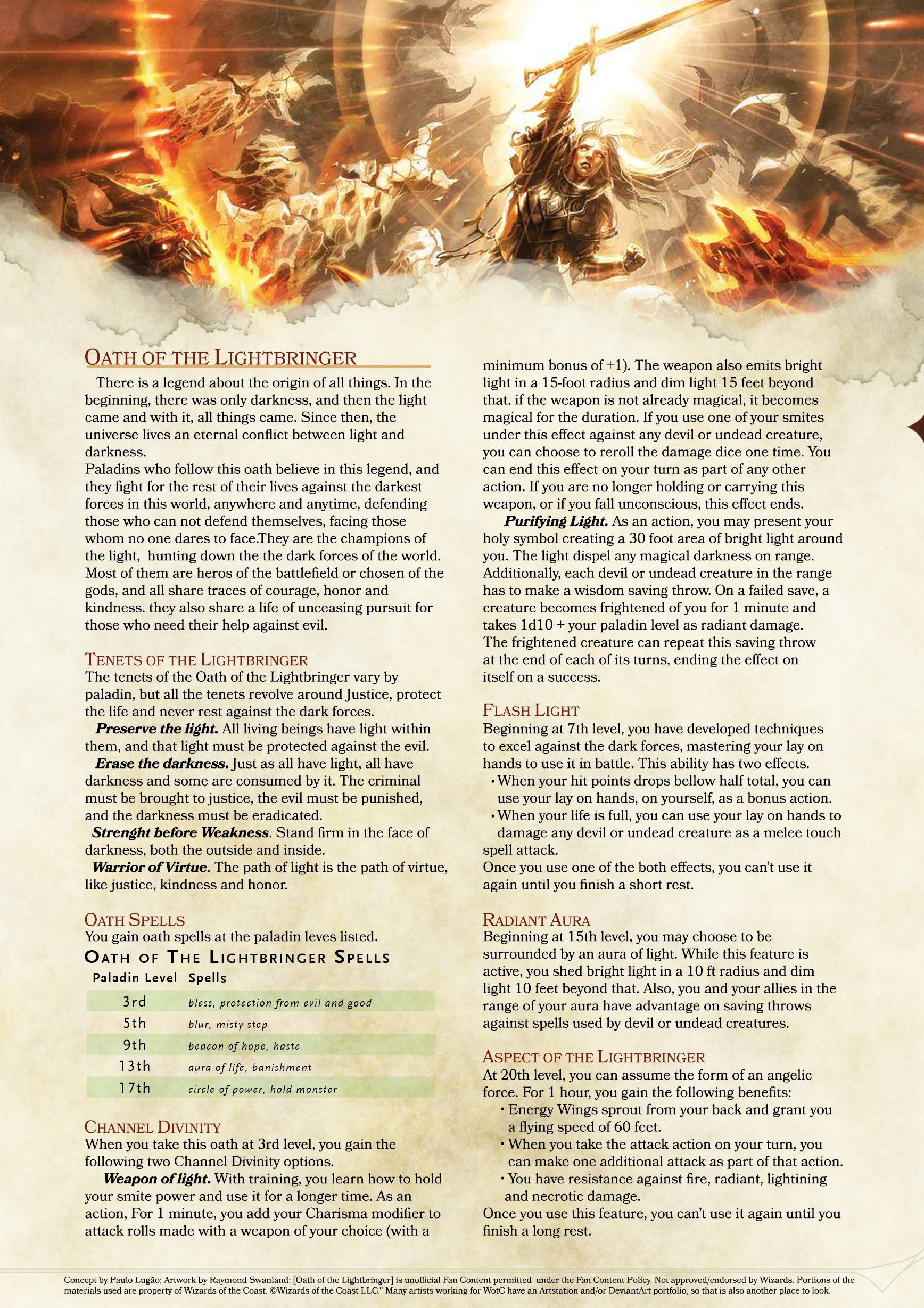 Oath of the Lightbringer - DnD 5e - homebrew   Dnd paladin, Dnd 5e homebrew, Dungeons and ...