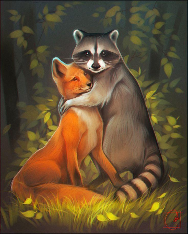 Waschbär und Fuchs umarmen sich Waschbär kunst, Tiere