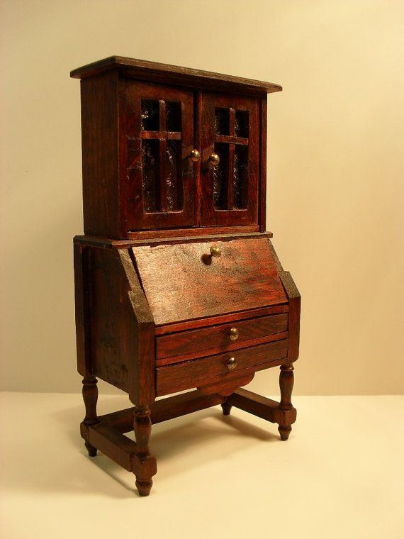 Antique Dollhouse Furniture Red Stain Secretary Desk - Reserved - Antique Dollhouse Furniture - Desk And Chair Dollhouse