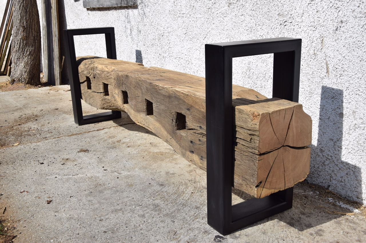 sitzbank aus historischem eichenbalken leben mit alt holz pinterest sitzbank eiche und. Black Bedroom Furniture Sets. Home Design Ideas