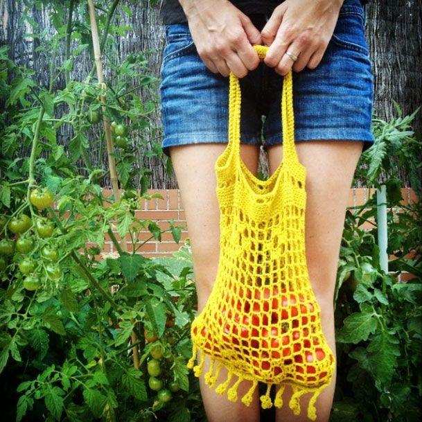 Bolsa de red en ganchillo   Ideas para tejer en verano   Pinterest ...