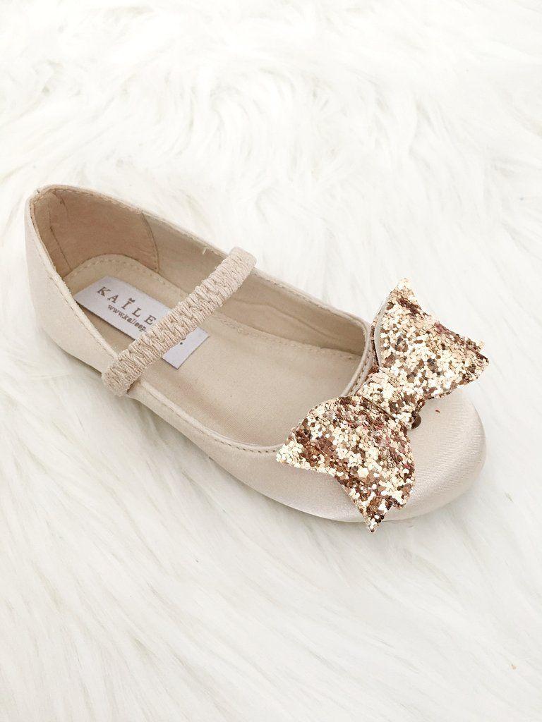 922d7dfbde72e Girls Infant shoes Champagne Satin Maryjane Flats With Gold Glitter ...
