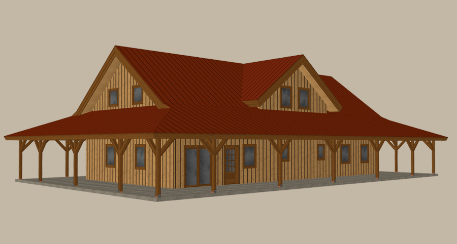 Pre Designed Home Ponderosa Country Barn Home Kit Front View 3d