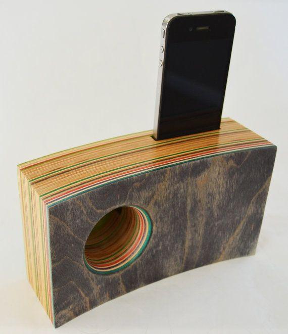 Smartphone Speaker/Amplifier made from Reclaimed Skateboards
