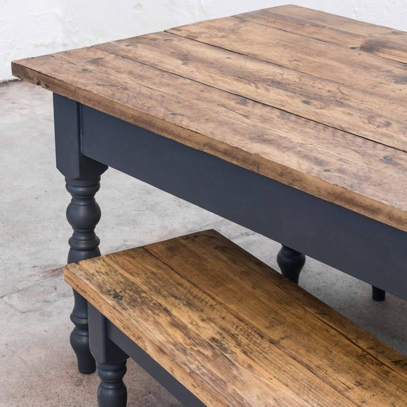 The Farmhouse Dining Table Set with Benches - Rust