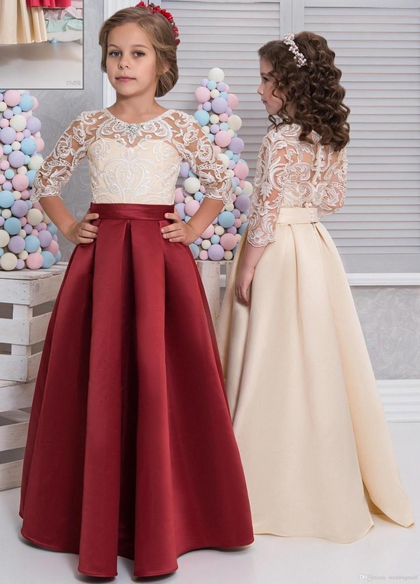 Floor length lace satin flower girls dresses long sleeves red