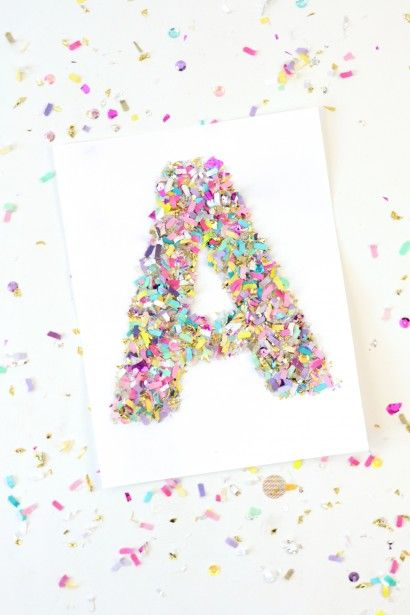 Confetti crafts: monogram letter art
