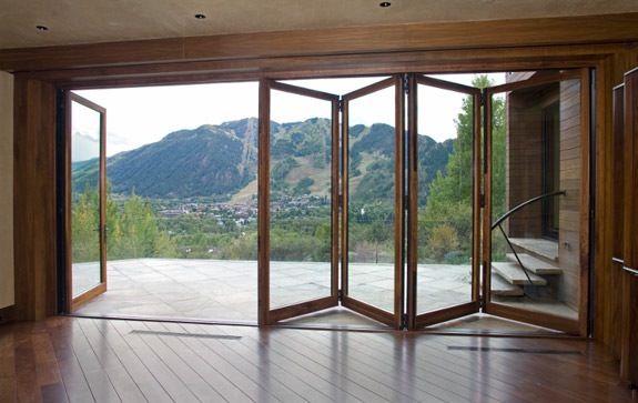 Folding Glass Doors With Wooden Floor Doors Beautiful Entryways