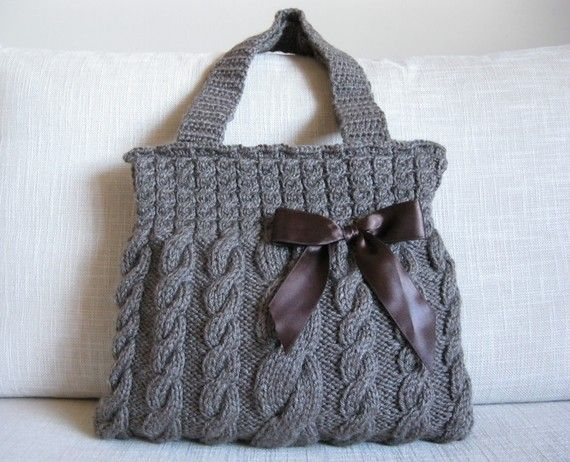 Knitting Pattern For A Peg Bag : Big cable knit purse with a knitted handle sew it or don ...